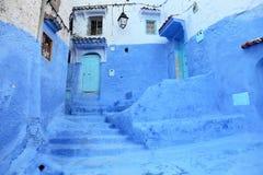 Chefchaouen,摩洛哥蓝色麦地那  库存图片