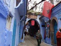 Chefchaouen, голубой город Марокко Стоковые Изображения RF