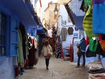 Chefchaouen, голубой город Марокко Стоковая Фотография