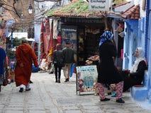 Chefchaouen, голубой город Марокко Стоковые Фотографии RF