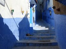 Chefchaouen, голубой город Марокко Стоковые Фото