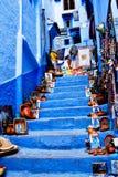 Chefchaouen голубой Medina, Марокко Стоковые Изображения RF