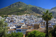 Chefchaouen. Morocco. Chefchaouen. General view of city seen from kasbah tower stock images