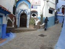 Chefchaouen blå stad av Marocko arkivbilder