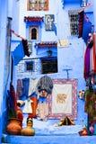 Chefchaouen blått Medina, Marocko Royaltyfria Bilder