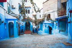 Chefchaouen blue city of Morocco. Beautiful street of blue medina in Africa stock images