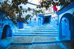 Chefchaouen blue city of Morocco. Beautiful street of blue medina in Africa royalty free stock photo