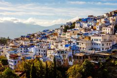 Chefchaouen, blue city, Morocco. Chefchaouen, blue city skyline on the hill, Morocco stock image