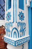 Chefchaouen blue house decoration. On column. Chefchaouen or Chaouen city in Morocco. Blue house walls on the street of an ancient city, blue color everywhere Stock Images
