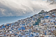 Chefchaouen blue town general view at Morocco Royalty Free Stock Photo
