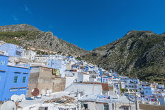 Chefchaouen blue town general view at Morocco Royalty Free Stock Photography