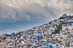 Chefchaouen blue town general view at Morocco Stock Image