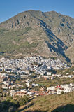 Chefchaouen blue town general view at Morocco Stock Photos