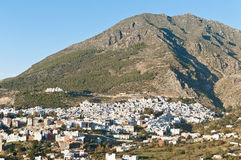 Chefchaouen blue town general view at Morocco Royalty Free Stock Photos