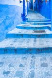 Chefchaouen blue town street in Morocco. Africa royalty free stock photos