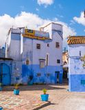 Chefchaouen blue town street with stairs Morocco Royalty Free Stock Photo