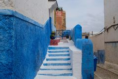 Chefchaouen, Morocco. Africa, arabic. path, steps and stairs. Chefchaouen or Chaouen is a city in northwest Morocco. It is the chief town of the province of the Stock Photo