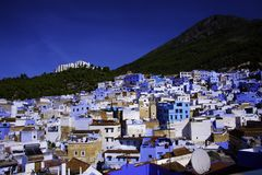 Chefchaouen den blåa staden Fotografering för Bildbyråer