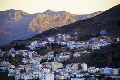 Chefchaouen den blåa staden Arkivbilder
