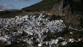 Chefchaouen den blåa staden i Marocko lager videofilmer