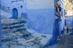 Chefchaouen den blåa staden i Marocko arkivfoto