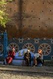 Chefchaouen den blåa staden i Marocko arkivbilder