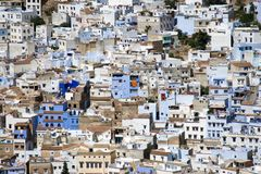 Chefchaouen Marocko - flyg- sikt av Medina Royaltyfria Bilder
