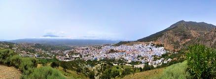 Chefchaouen Maroko Afryka panoramy Błękitny grodzki widok fotografia stock