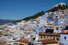 Chefchaouen, Morocco. Africa, arabic. full side and whole view. Chefchaouen or Chaouen is a city in northwest Morocco. It is the chief town of the province of Stock Image