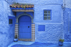 The beautiful blue medina of Chefchaouen, the pearl of Morocco. North Africa Stock Photos