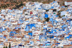 Chefchaouen in Morocco. Chefchaouen aerial panoramic view, Morocco. Chefchaouen is a city in northwest Morocco. Chefchaouen is noted for its buildings in shades stock image