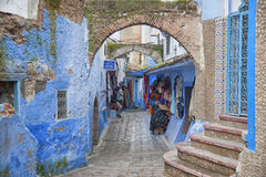 CHEFCHAOUEN, MOROCCO - FEBRUARY, 19 2017: Unidentified people in the blue medina of Chefchaouen Stock Photography