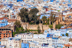 Chefchaouen in Morocco. Kasbah Fortress in Chefchaouen. Chefchaouen is a city in northwest Morocco. Chefchaouen is noted for its buildings in shades of blue royalty free stock images