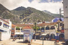 CHEFCHAOUEN, MOROCCO -MAY 1, 2013: Architecture of Chefchaouen, Royalty Free Stock Images