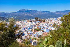 Chefchaouen in Morocco. Chefchaouen and Rif mountains aerial panoramic view, Morocco. Chefchaouen is a city in northwest Morocco. Chefchaouen is noted for its royalty free stock photo