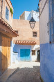 Chefchaouen in Morocco. A street in the beautiful and picturesque village of Chefchaouen in the North of Morocco, North Africa Stock Photo