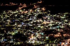 Chefchaouen at night. Chefchaouen is the 'Blue City' in Rif Moutains of Morocco Royalty Free Stock Photos
