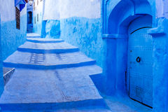 Chefchaouen. Stairway in the blue medina of Chefchaouen, Morocco stock images