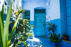 Between chefchaouen streets. The blue city of morocco chefchaouen a unique architecture Stock Image