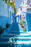 Between chefchaouen streets. Such a unique architecture inspired by the spanish culture in the city of chefchaouen in the north of morocco Stock Images