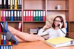 Chefe da senhora que flerta com interlocutor Imagem de Stock Royalty Free