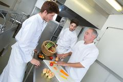 Chefe e assistentes que chooping vegetarianos foto de stock