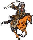 Chefe indiano nativo que monta um cavalo do pônei Fotografia de Stock
