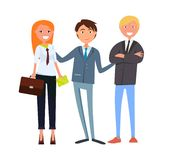 Chefe Presenting Businesswoman do homem e homem de negócios ilustração royalty free