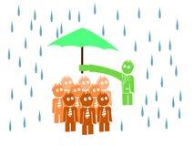 Chefe que pendura o guarda-chuva até seus trabalhadores Imagens de Stock