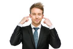 Chefen stänger hans öron fotografering för bildbyråer