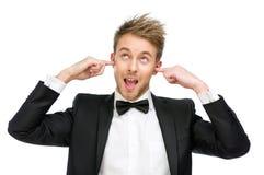 Chefen stänger hans öron och skrin Royaltyfria Foton
