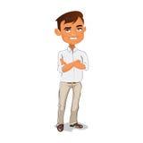 Chefen står i den vita skjortan och beige byxa Royaltyfria Bilder