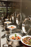 Cheffing dishes at a hotel for buffet Stock Image