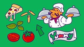Chefkarikatur mit Pizza- und Lebensmittelikonensatz Lizenzfreie Stockbilder